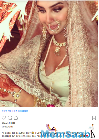 In the caption, she thanked Bollywood for letting her inner Bridezilla out.