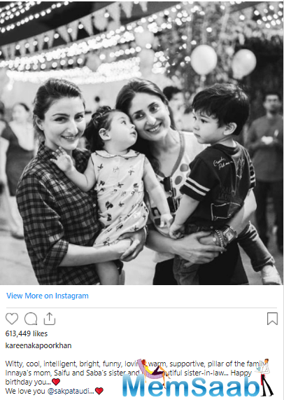 Soha's sister-in-law and actress Kareena Kapoor Khan, too, wished the actress on Instagram.