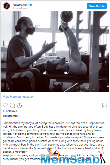 In a recent post that he shared, Pulkit can be seen lifting weights.