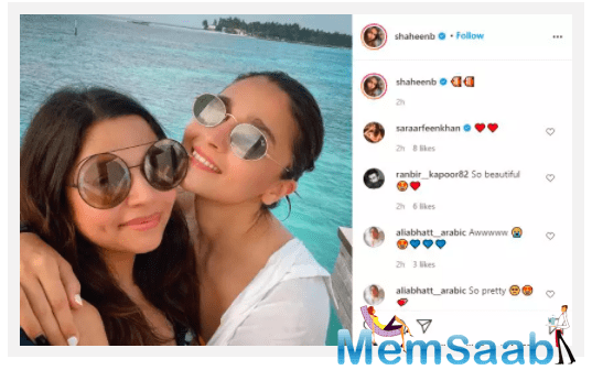 Now Shaheen took to her social media handle to share yet another glimpse where she can be seen living it up in the island nation with the 'Kalank' actress.