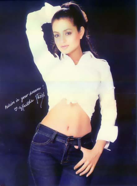 Amisha Patel Hot Navel Show With Jeans