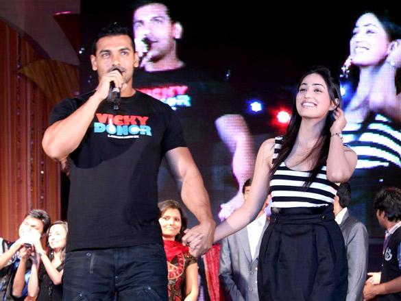John Abraham,Yami Gautam at Vicky Donor Promotional Event