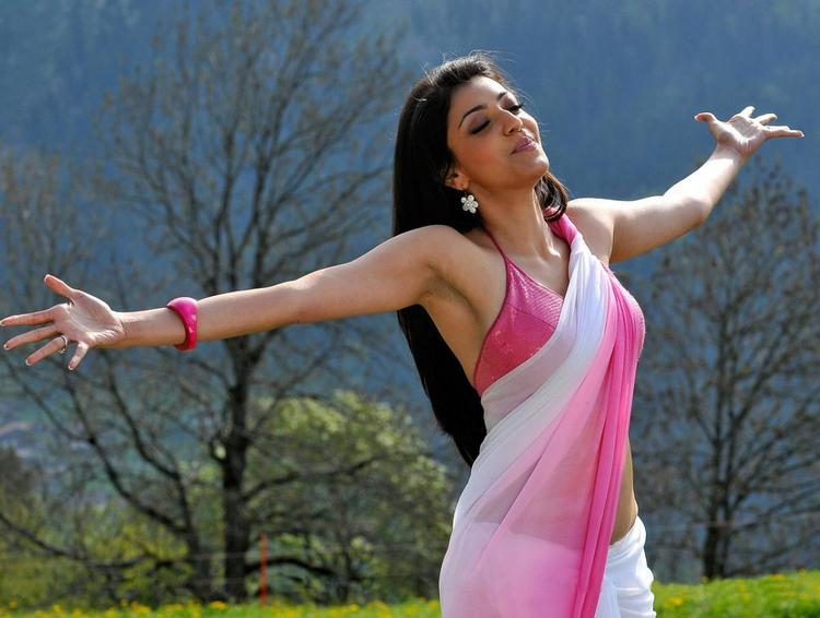 Kajal Agarwal Dual Color Saree Sizzling Pic in Veera Movie