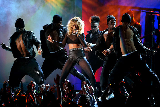 Rihanna performs during the 54th annual Grammy Awards on Sunday