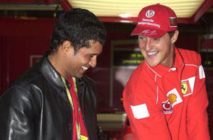 Sachin Tendulkar with Michael Schumacher