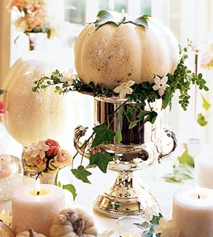Make a decorative centerpiece with White Pumpkin