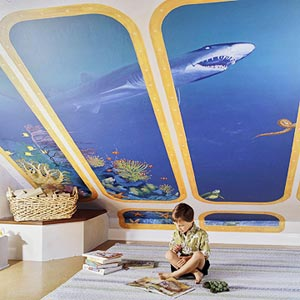 kid's play room angled wall