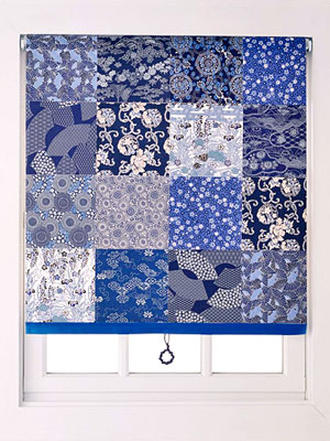 blue quilted Roman shade