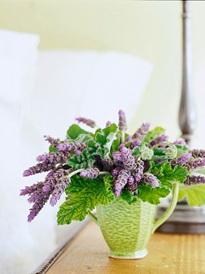 lavender in green vase