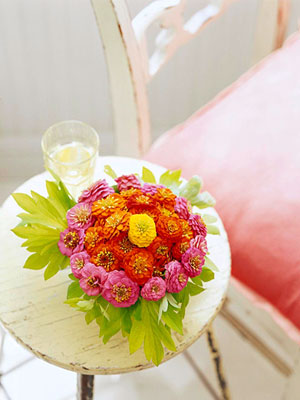 zinnias on table