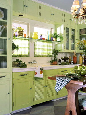 bright green kitchen, glass-door cabinets