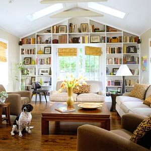 family room with bookcase