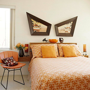 contemporary orange and brown bedroom