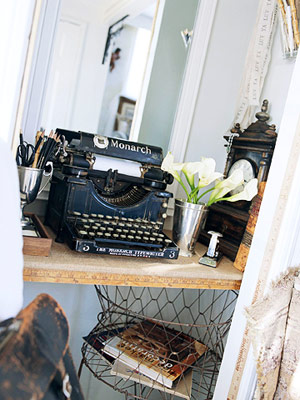 old typewriter and wire basket