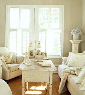 neutral living room with distressed coffee table