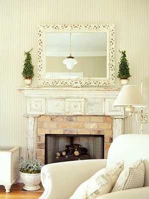 distressed fireplace and beaded board walls