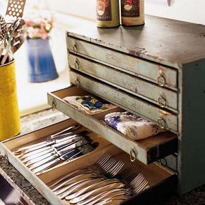 Tool chest turned silverware storage