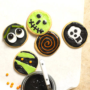Green and Black Halloween Cookies