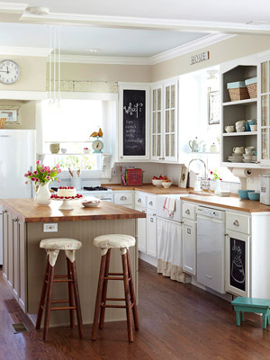 white cottage small kitchen