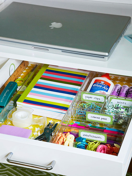 Desk, drawer, storage, label, declutter, organize