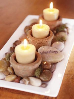 Mini Candle Centerpiece with Moss and Rocks