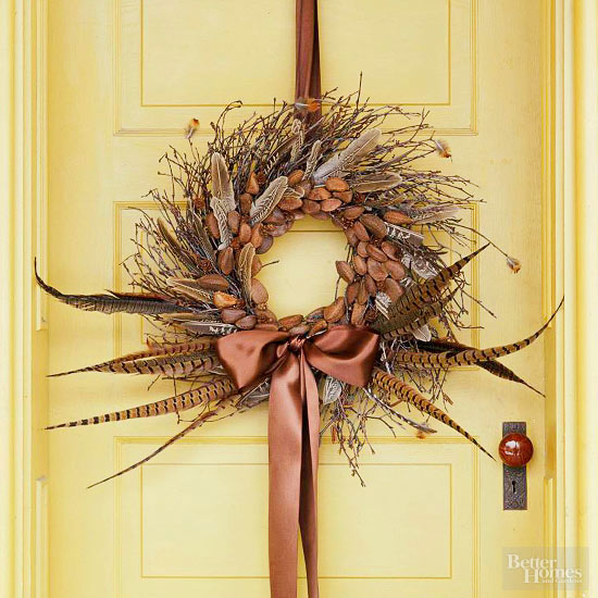 Pheasant Feather Fall Wreath
