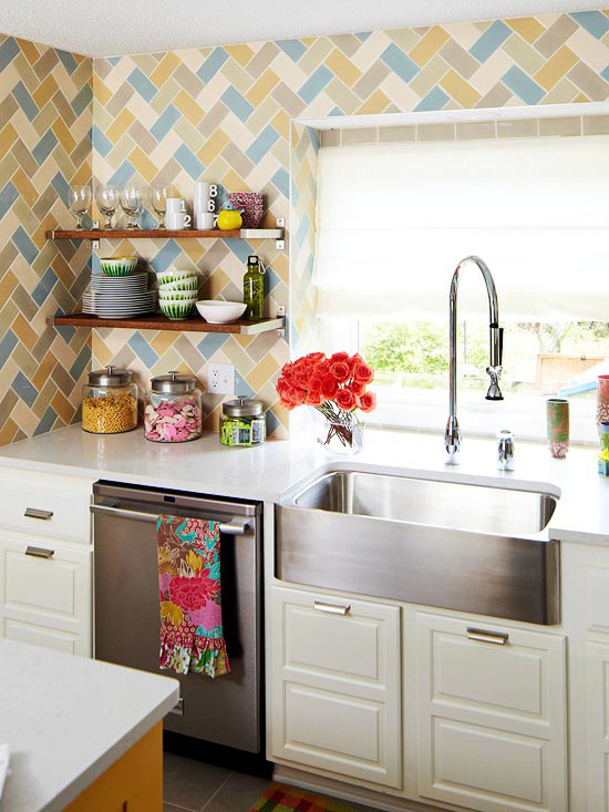 Statement Sink in Blue and Gold Kitchen Stainless Steel Colorful Wallpaper Chrome Appliances