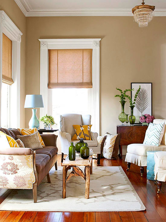 living room color schemes what goes with beige walls