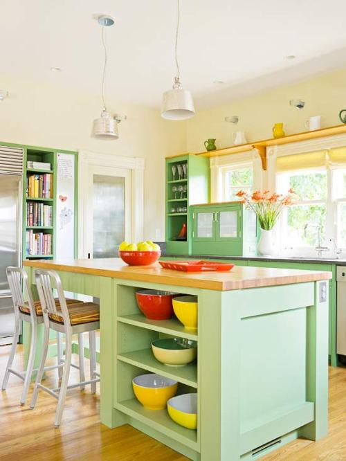 Painted Kitchen Cabinets Cabinetry Color Colorful Light Green Mint Open Shelving Island Bar Stool Wood Floor Pendant Light