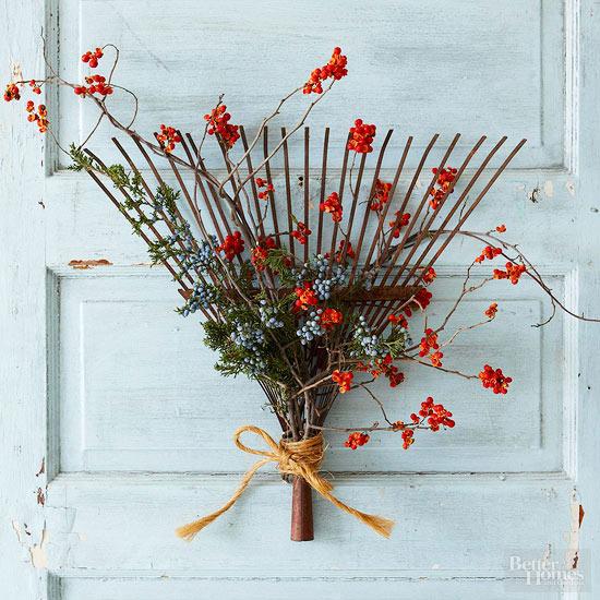 Juniper-and-Bittersweet Rake Wreath