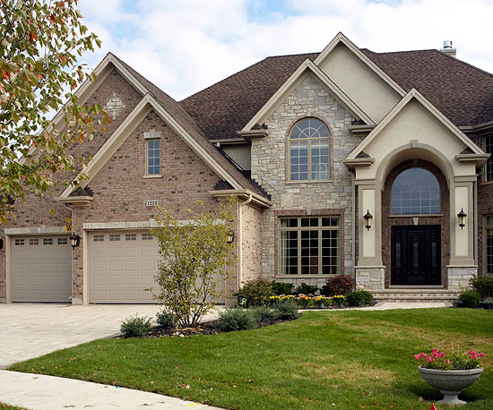 Exterior colors - brick and tan, but with white trim ... on Garage Door Color Ideas  id=41079