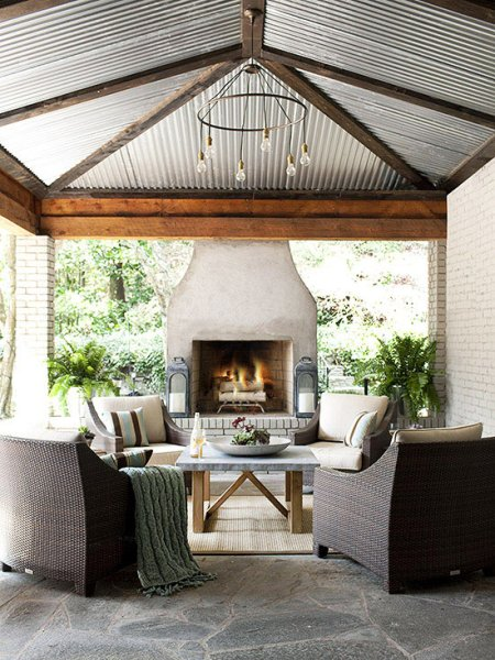 outdoor covered patio with fireplace Outdoor Fireplace Ideas