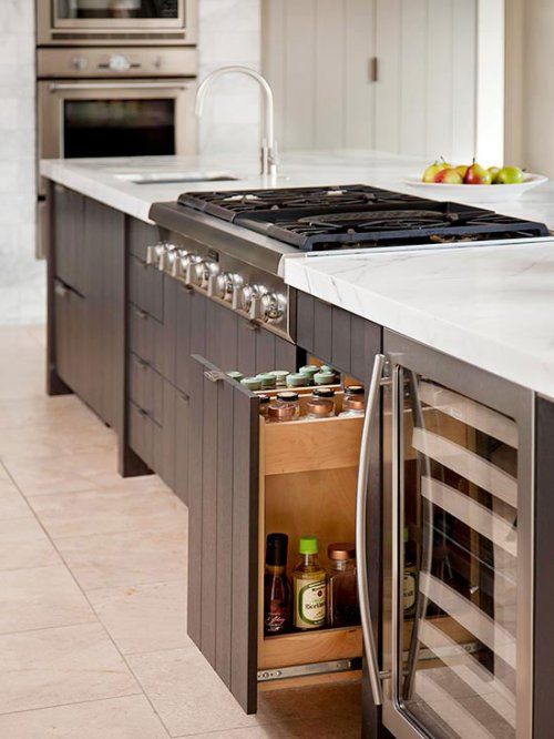 Kitchen Islands Ideas Spice Rack in Island Countertops Marble Wine Cooler Stovetop Greige Labels