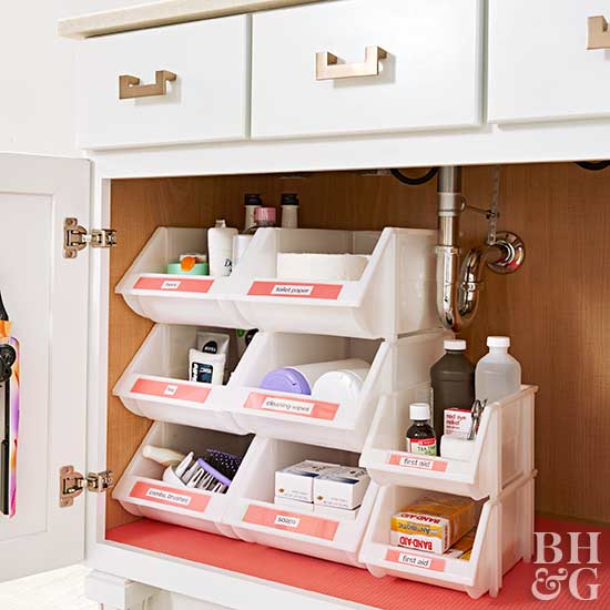 Use and label a stackable container underneath your bathroom cabinet sink.