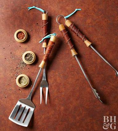 leather-wrapped grill utensils