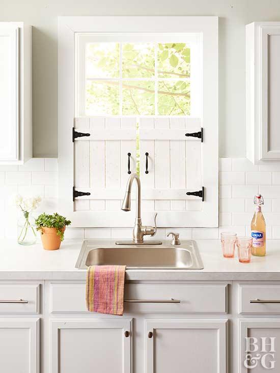 DIY Farmhouse Kitchen Window Shutters on Farmhouse Curtain Ideas  id=18513