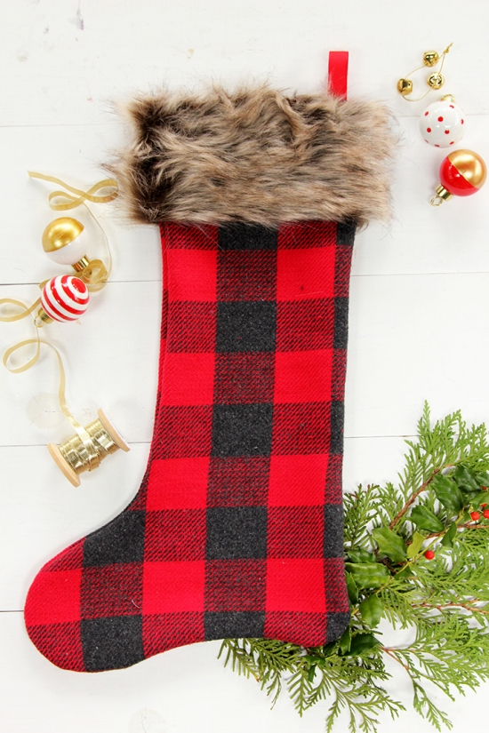 DIY Plaid and Faux Fur Christmas Stockings - Beginner Sewing Project Tutorial | BHG