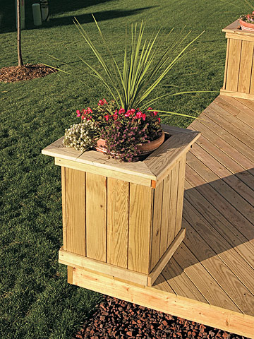 Free Standing Deck with Planters and Benches
