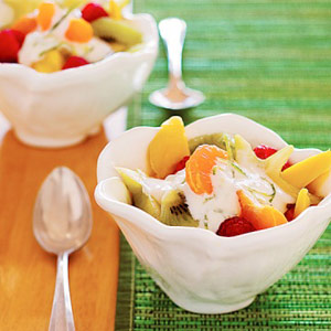 Fresh Fruit Salad with Creamy Lime Topping