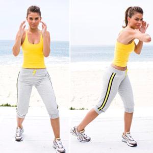 Maria Menounos doing elbow strike, knee strike