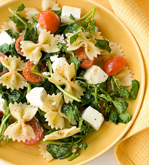 Farfalle with Watercress, Cherry Tomatoes and Feta