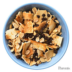 Mini pita chips, soy nuts, mini chocolate chips