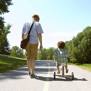 father and son on walk