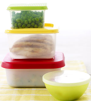 food in plastic Tupperware