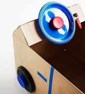 Cardboard car steering wheel