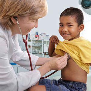 Child getting a checkup