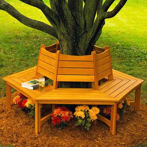 wooden bench around tree plans