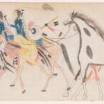 Frank Henderson Two Riders Leading Horses Henderson Ledger Artist B Arapaho The Metropolitan Museum Of Art