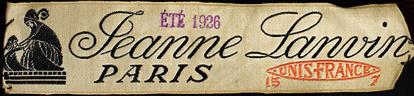 Lanvin label, été 1926, from a robe de style at The Costume Institute