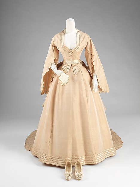 1870's Wedding ensemble.  Courvoisier  (French). Silk and Leather. Credit Line: Brooklyn Museum Costume Collection at The Metropolitan Museum of Art, Gift of the Brooklyn Museum, 2009; Gift of Mrs. Charles Iseley, 1964.